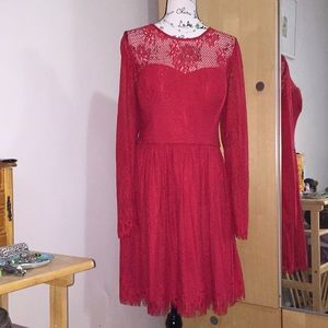 Guess red lace cocktail dress.